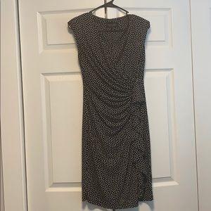 Black and white polka dot wrap dress